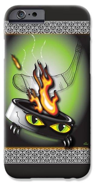 Hockey Puck In Flames IPhone Case by Dani Abbott