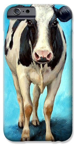 Holstein Cow Standing On Turquoise IPhone 6s Case by Dottie Dracos