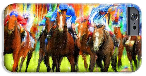 Horse Racing IPhone Case by Lourry Legarde