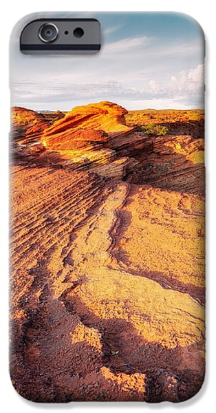 Horseshoe Bend Colorado River Glenn Canyon Sandstone Waves Bathed By Golden Light IPhone Case by Silvio Ligutti