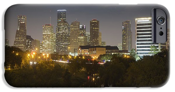 The Houston Skyline Image At Night From Buffalo Bayou IPhone Case by Rob Greebon