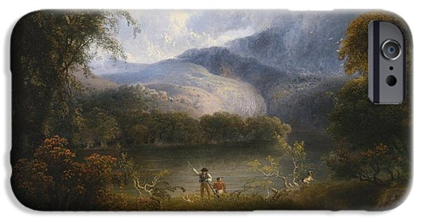 Hunters With A Dog In A Landscape IPhone Case by Celestial Images