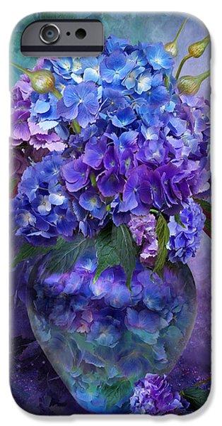 Hydrangeas In Hydrangea Vase IPhone Case by Carol Cavalaris