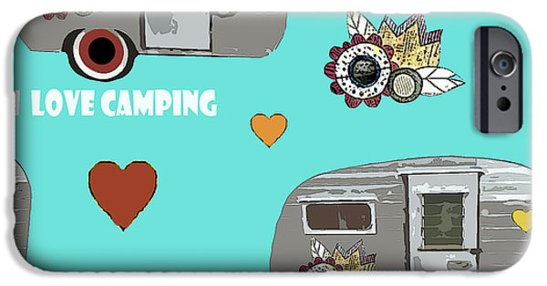 I Love Camping Pattern IPhone Case by Sarah Ogren