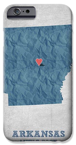 I Love Little Rock Arkansas - Blue IPhone Case by Aged Pixel
