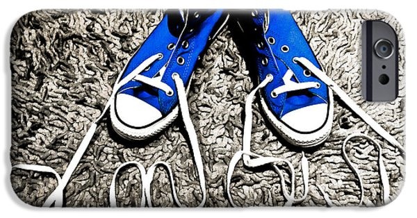 I Love My Blue Suede Tennis Shoes IPhone Case by Georgina Noronha