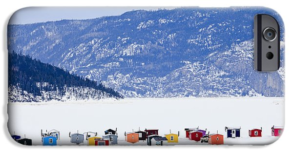 Ice Fishing Huts On Saguenay River IPhone Case by Yves Marcoux