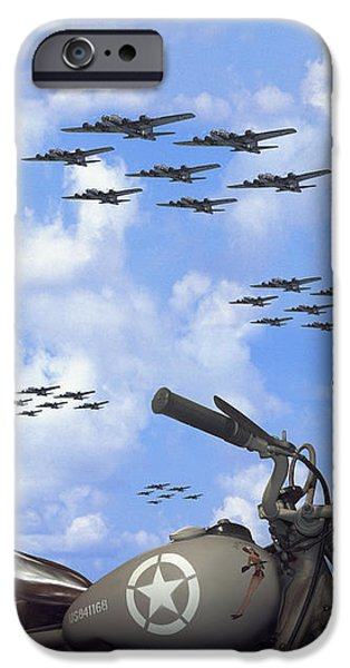 Indian 841 And The B-17 Panoramic IPhone Case by Mike McGlothlen