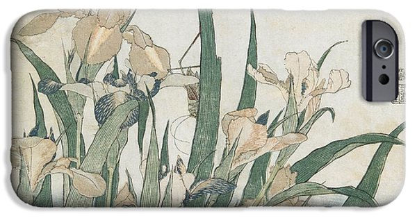 Iris Flowers And Grasshopper IPhone 6s Case by Hokusai