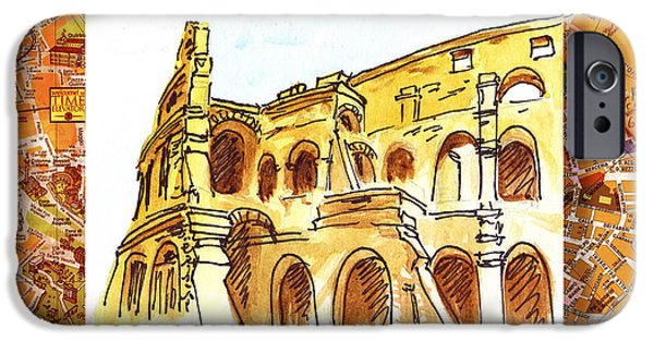 Italy Sketches Rome Colosseum Ruins IPhone Case by Irina Sztukowski