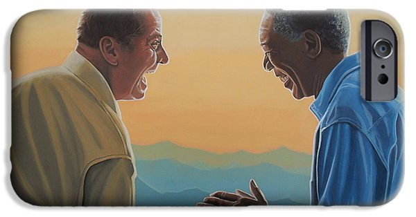 Jack Nicholson And Morgan Freeman IPhone Case by Paul Meijering