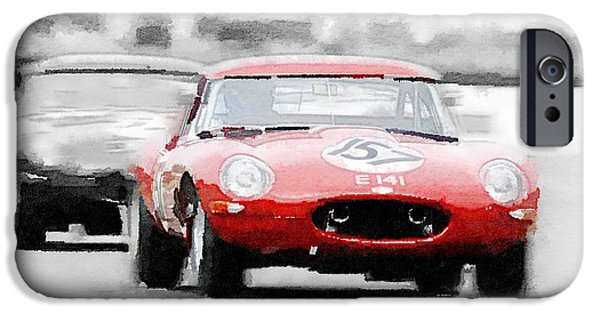 Jaguar E-type Racing Watercolor IPhone Case by Naxart Studio