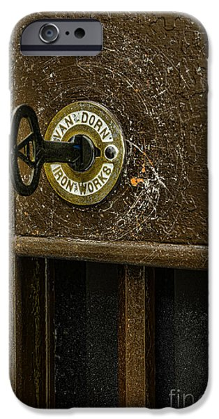 Jail Cell Door Lock  And Key Close Up IPhone Case by Paul Ward