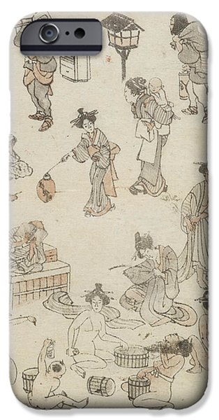 Japanese Bathing IPhone Case by British Library