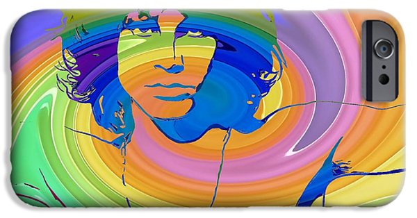 Jim Morrison Color Warp IPhone Case by Dan Sproul