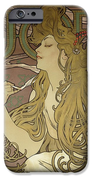 Job, 1896 Colour Lithograph On Poster Paper, Framed IPhone Case by Alphonse Marie Mucha