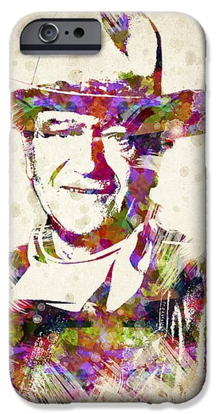 John Wayne Portrait IPhone Case by Aged Pixel