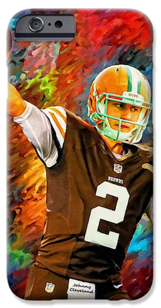 Johnny Manziel Cleveland Browns Football Art Painting IPhone Case by Andres Ramos