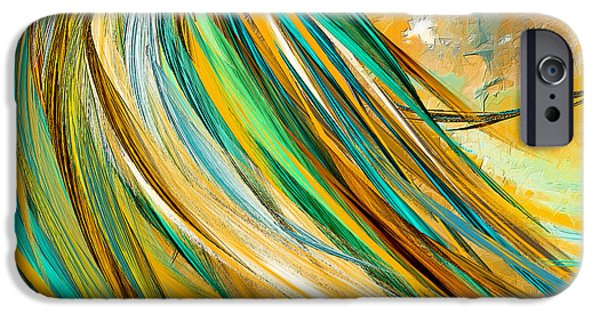 Joyous Soul- Yellow And Turquoise Artwork IPhone Case by Lourry Legarde