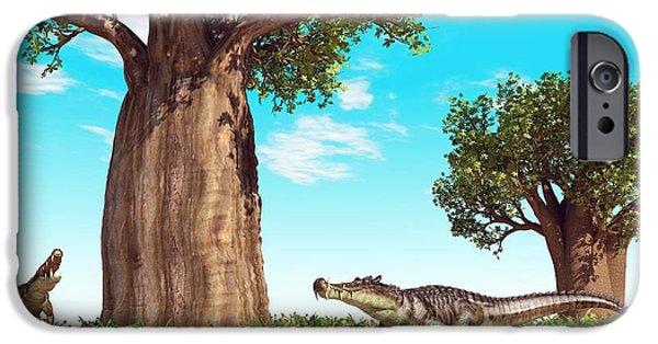 Kaprosuchus Prehistoric Crocodiles IPhone 6s Case by Walter Myers