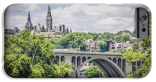 Key Bridge And Georgetown University IPhone Case by Bradley Clay