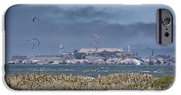 Kite Surfing Alcatraz IPhone Case by Chuck Kuhn
