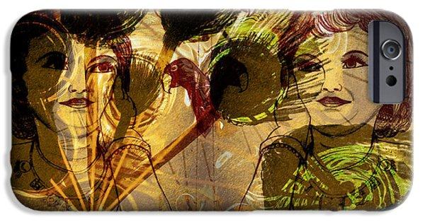 Krishna Abstract Art IPhone Case by Artist Nandika  Dutt