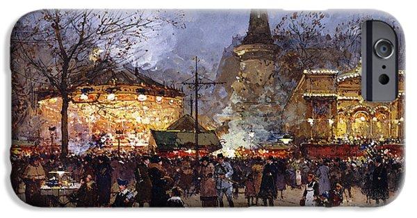 La Fete Place De La Republique Paris IPhone Case by Eugene Galien-Laloue
