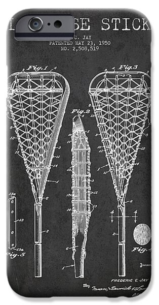 Lacrosse Stick Patent From 1950- Dark IPhone Case by Aged Pixel