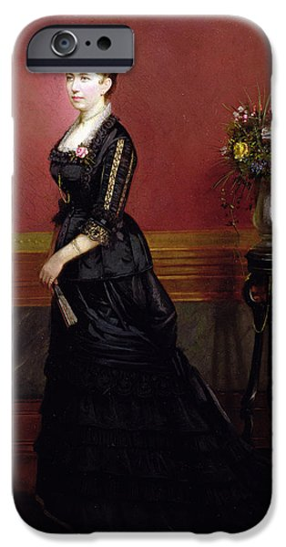 Lady In Black IPhone Case by Edouard Ender