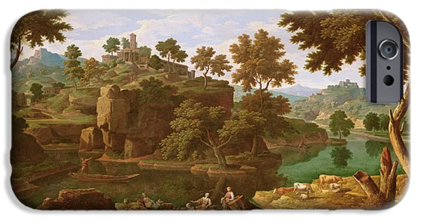 Landscape With A River Oil On Canvas IPhone Case by Etienne Allegrain