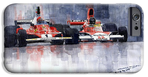Lauda Vs Hunt Brazilian Gp 1976 IPhone Case by Yuriy Shevchuk