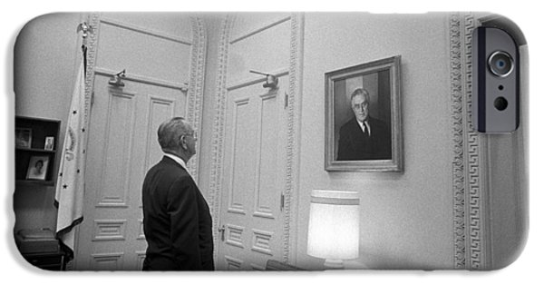 Lbj Looking At Fdr IPhone Case by War Is Hell Store