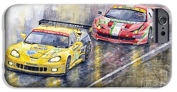 Le Mans 2011 Gte Pro Chevrolette Corvette C6r Vs Ferrari 458 Italia IPhone Case by Yuriy  Shevchuk