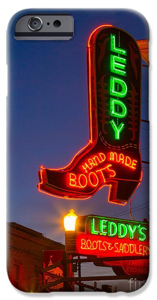 Leddy Boots Neon IPhone Case by Inge Johnsson