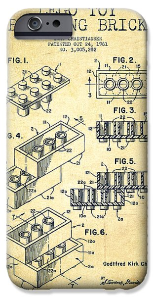 Lego Toy Building Brick Patent - Vintage IPhone Case by Aged Pixel