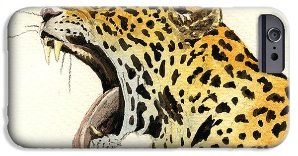 Leopard Head IPhone 6s Case by Juan  Bosco