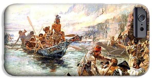 Lewis And Clark On The Lower Columbia  IPhone Case by Charles Russell