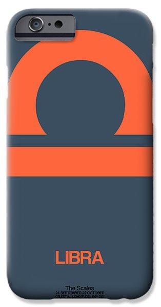 Libra Zodiac Sign Orange IPhone Case by Naxart Studio