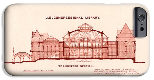 Library Of Congress Design 1877 IPhone Case by Mountain Dreams