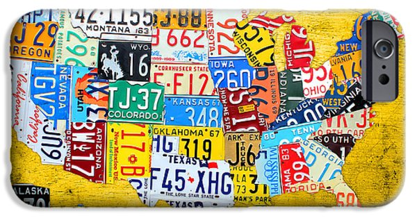 License Plate Art Map Of The United States On Yellow Board IPhone Case by Design Turnpike