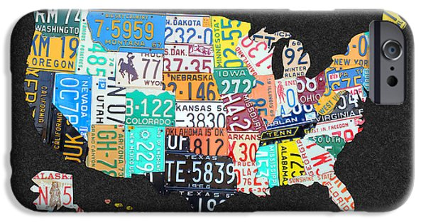 License Plate Map Of The United States On Gray Felt With Black Box Frame Edition 14 IPhone Case by Design Turnpike