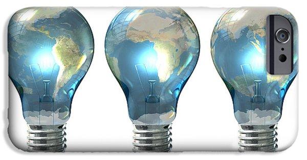 Light Bulb World Globe Series IPhone Case by Allan Swart