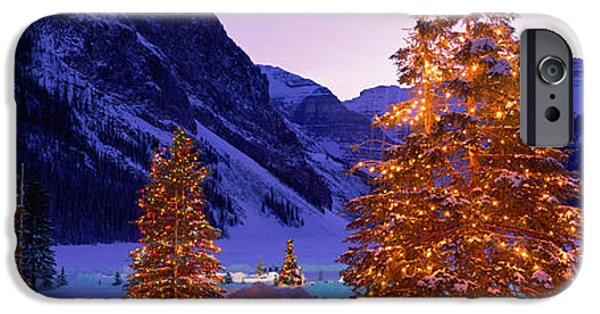 Lighted Christmas Trees, Chateau Lake IPhone Case by Panoramic Images