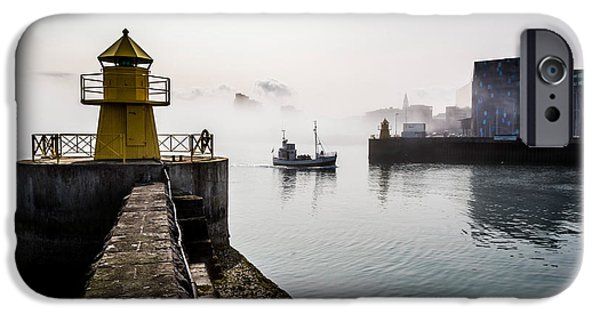 Lighthouse In Reykjavik Harbor, Harpa IPhone Case by Panoramic Images