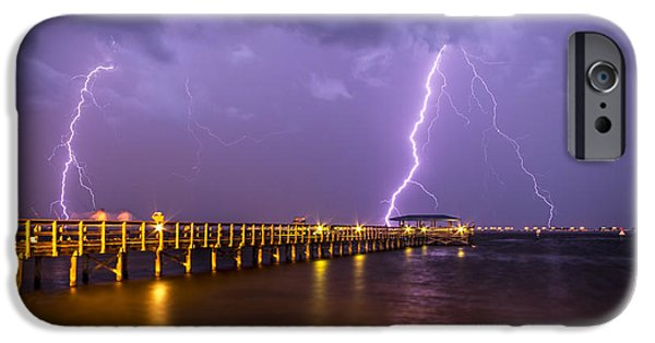 Lightning At The Pier IPhone Case by Marvin Spates