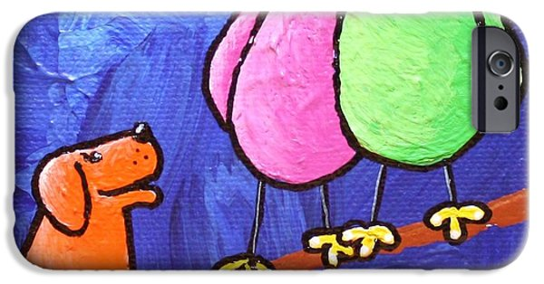 Limb Birds - Big Dog Little Dog IPhone Case by Linda Eversole