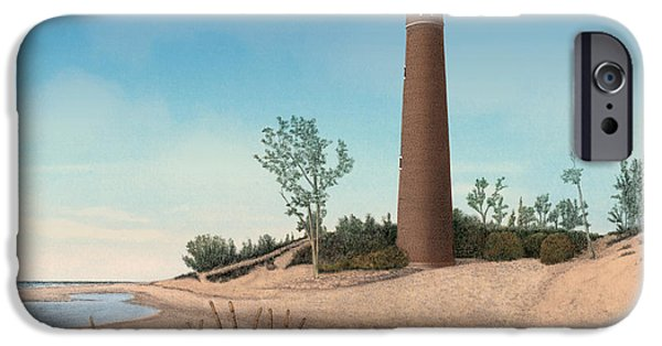 Little Sable Point Lighthouse Titled IPhone Case by Darren Kopecky