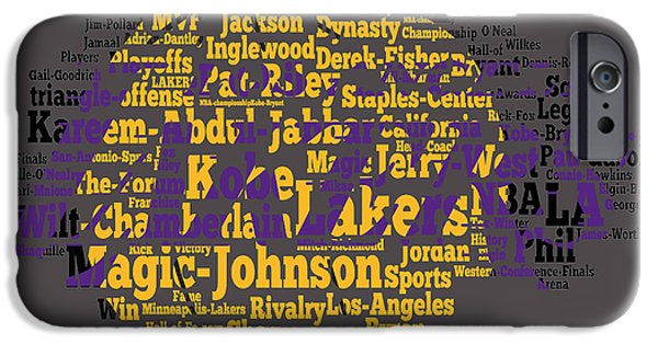 Los Angeles Lakers Word Cloud IPhone Case by Brian Reaves
