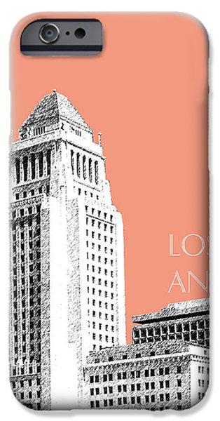Los Angeles Skyline City Hall - Salmon IPhone 6s Case by DB Artist